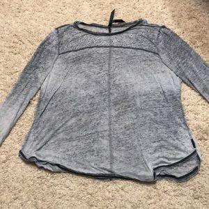Tops, Seven 7 Sequined Grey Burnout shirt